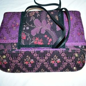 BUENO PURPLE FLORAL TAPESTRY SHOULDER BAG